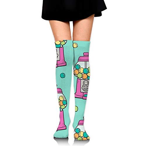 Fun Life Art Bubble Gumball Machine Pink Auf Mint Green Damen Overknee Oberschenkel Socken Mädchen Hohe Strümpfe 65 Cm / 25.6In (Mint-farbigen Heels)