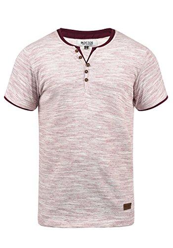 Indicode Aldred Herren T-Shirt Kurzarm Shirt Streifenshirt Mit Streifen Und Grendad-Ausschnitt, Größe:L, Farbe:Wine (227) - Rote Seitliche Streifen-shirt