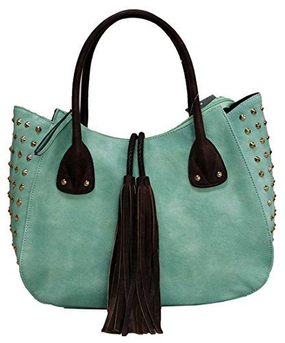 Kukubird Patrice Ecopelle Con Nappa & Stud Dettaglio Top-manico Tracolla Tote Handbag Apricot