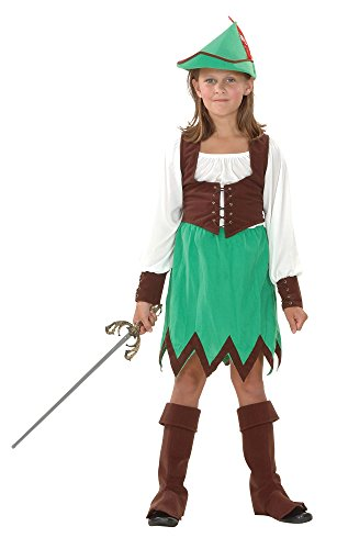 Robin Hood - Girls - Kinder Kostüm - Klein - 110 bis 122 (Hood Dress Kostüme Fancy Robin)