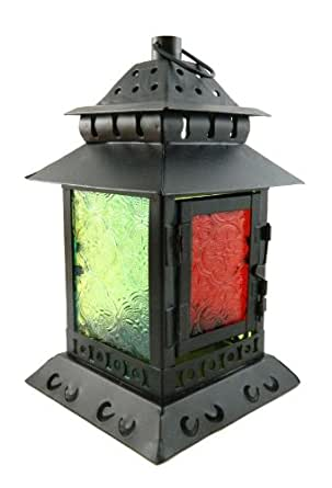 19cm Moroccan Garden Lantern Colored Glass & Tin Hanging Candle Holder #14