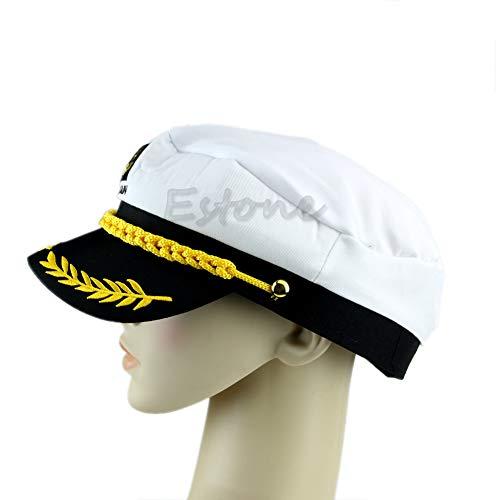 CADANIA Kapitänshut Erwachsener Schirmmütze Segler Bootskappe Kostüm Unisex - Weiß