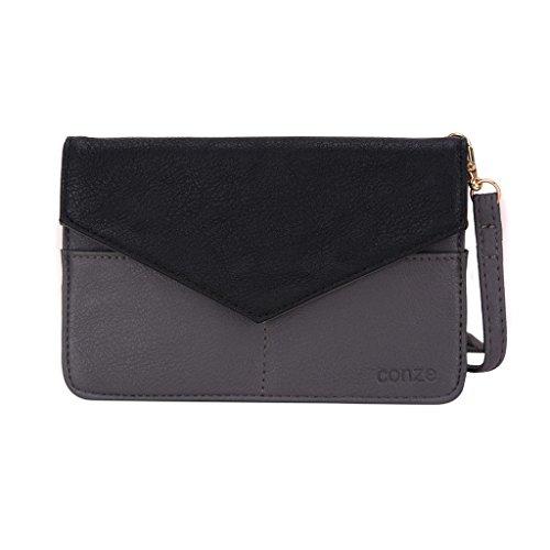 Conze da donna portafoglio tutto borsa con spallacci per Smart Phone per Gigabyte Gsmart Gx2/Guru (White Edition) Grigio grigio grigio