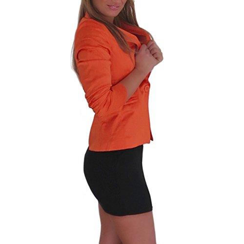 3/4 geraffte Ärmel Satin Blazer Jacke Business Büro Jäckchen Party Freizeit Neu (L/40, Orange)