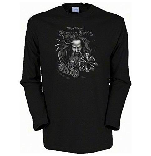 Herren Langarm-Shirt ::: The last Biker on Earth ::: für Biker und Gothic Fans Schwarz