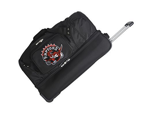 nba-toronto-raptors-denco-27-inch-drop-bottom-rolling-duffel-luggage-black-by-denco