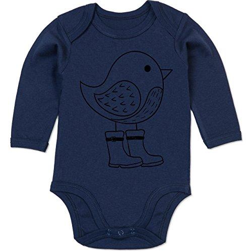 Tiermotive Baby - Süßer Vogel mit Gummistiefeln - 12-18 Monate - Navy Blau - BZ30 - Baby Strampler aus organischer Baumwolle für Mädchen und Jungen (Navy Strampelanzug Blauen)