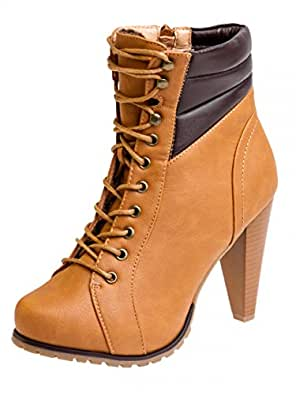 caspar sbo038 bottines vintage lacets talon pour femme boots lacets couleur camel. Black Bedroom Furniture Sets. Home Design Ideas