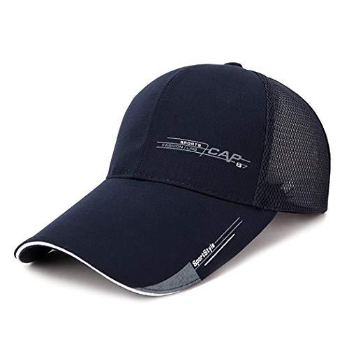 Ozq-hat Baseball Cap Halbe Mesh verstellbare Mütze Hut Unisex Polo Stil klassischen Sport Casual Plain Sommer Sonne Hut Peaked Cap,Navy,M (Plain Sonne Hut)