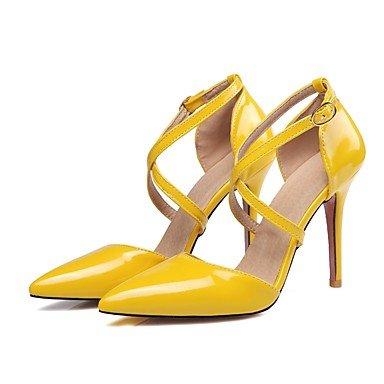 Couro outro Amarelo Rosa de preta Lvyuan Patente Salto Sandálias De Agulha Bege Branco vestido Senhoras vxg4pnqO