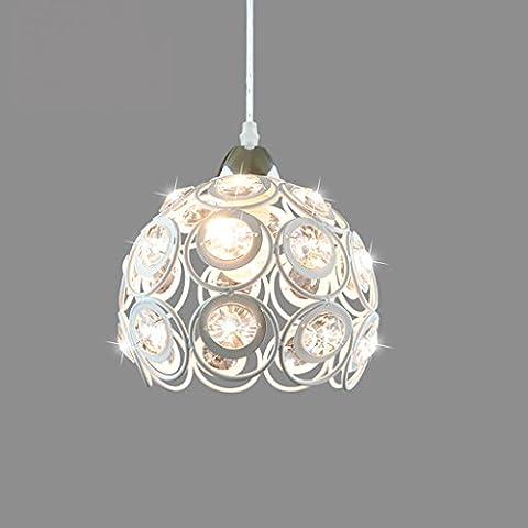 Yuyuan Light Single-Kopf hohlen Eisen Kronleuchter, moderne einfache Esstisch Wohnzimmer Beleuchtung Deckenleuchte, runde transparente Kristall Mosaik Kunst hängende Lampe, weiß E27