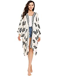 ee77793dd0b36 Meaneor Women Vintage Floral Chiffon Kimono Cardigan Top White Beach Bikini  Cover Up White
