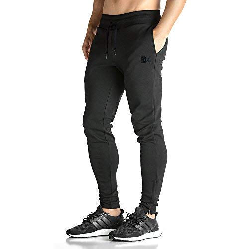 Broki Herren GYM Fitness JOGGER Trainingsanzug Slim Fit Chinos Hosen Gr. M, schwarz Slim Fit Chino