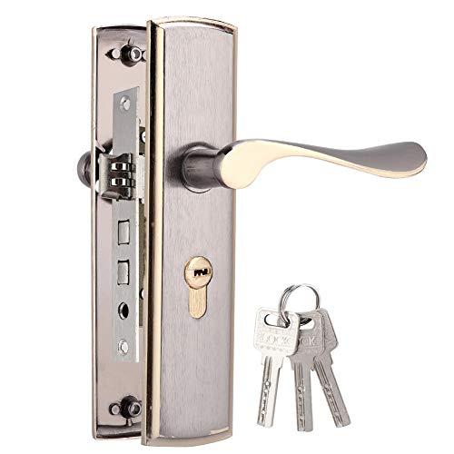 Cerradura de puerta de aluminio negro y dorado de titanio, juego de ce