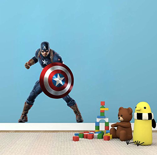 Decor Kafe Captain America Superhero Wall sticker Standard Size- 100cm X 80cm Color - Multicolor (Suitable for - Bedroom, Kitchen , Bathroom , or any type of smooth Surface)
