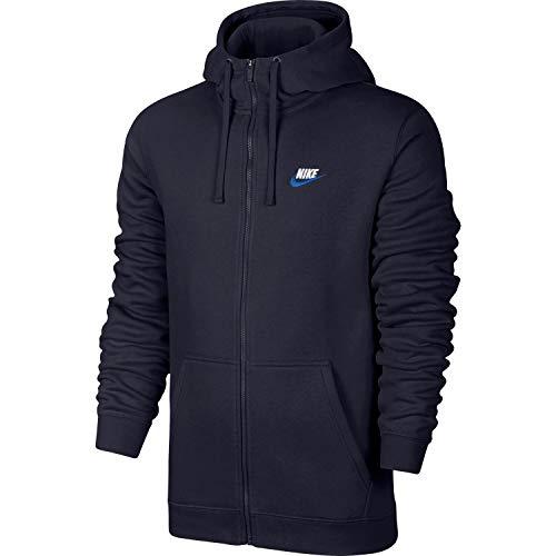 Nike Herren Kapuzenpullover Sportswear Full Zip Club, Herren, Obsidian Blue/White, Large
