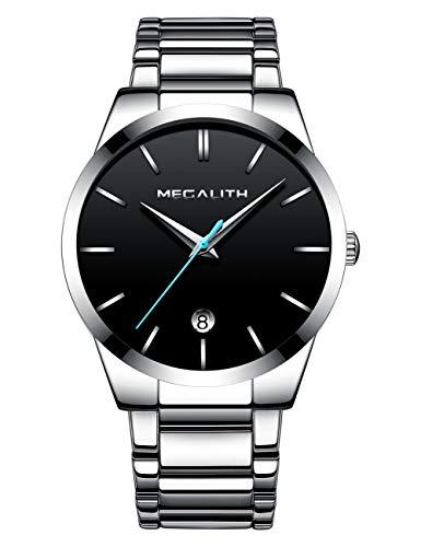 Herren Uhren Männer Wasserdicht Luxus Klassisch Datum Silber Edelstahl Armbanduhren Mann Einfach Analog Quarzwerk Uhr mit Blau Zeiger