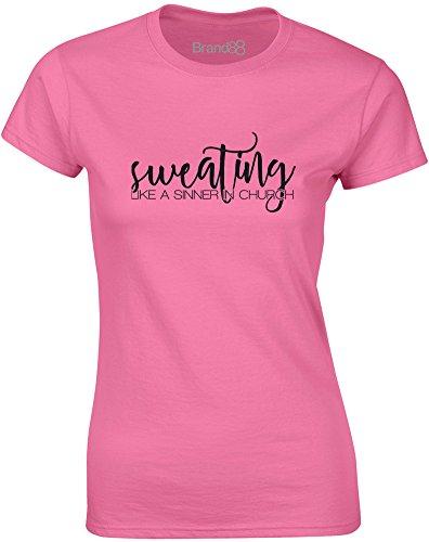 Brand88 - Sweating Like a Sinner in Church, Gedruckt Frauen T-Shirt Azalee/Schwarz