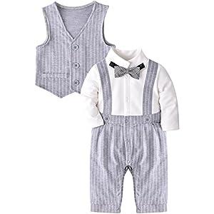 ZOEREA 2 pezzo Bambino Vestiti Battesimo Pagliaccetti e Panciotto Abbigliamento Bambini Eleganti Tutine con Bowknot (3-18 mesi)