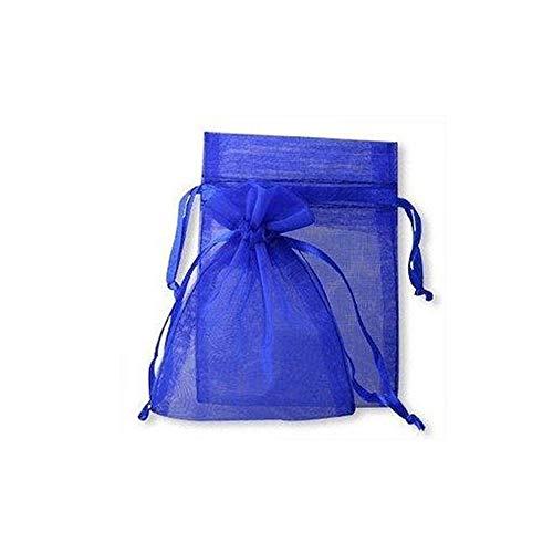 Lot de 100 Pochettes en Organza Cordon de Serrage Pouches Bijoux pour fête Sacs de Cadeau de Mariage pour Mariage fête Baby Shower – Bleu 9 cm x 12 cm