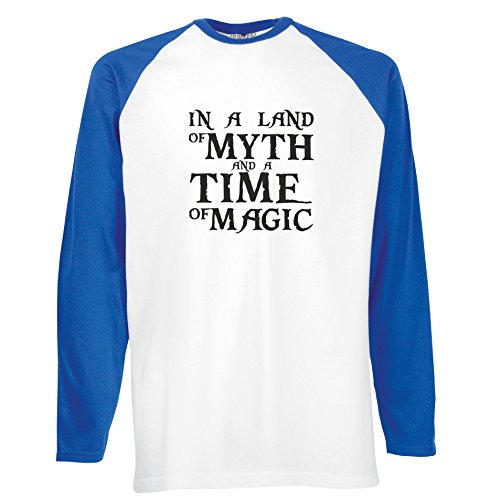 Brand88 - In A Land Of Myth And A Time Of Magic, Langarm Baseball T-Shirt Weiss & Blau