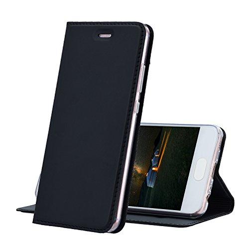 Huawei P10 Hülle Schwarz - MUKUTECH Handyhülle [Magnetverschluss] [Ultra Slim] Cover Schutzhülle mit Kartenfach, Ständer und TPU Innenschale, Bookstyle Case für Huawei P10 [5,1 Zoll] (Mikrofaser-hybrid-jacke)