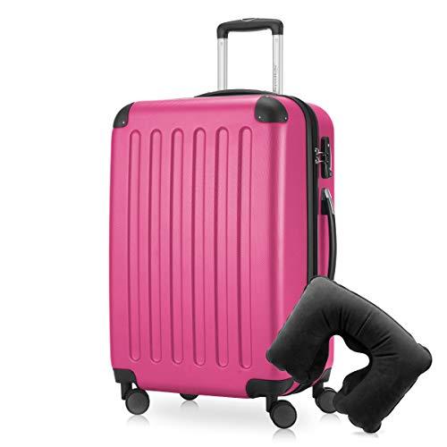 Hauptstadtkoffer - Spree Hartschalen-Koffer Koffer Trolley Rollkoffer Reisekoffer Erweiterbar, 4 Rollen, TSA, 65 cm, 74 Liter, Pink inkl. Reise Nackenkissen