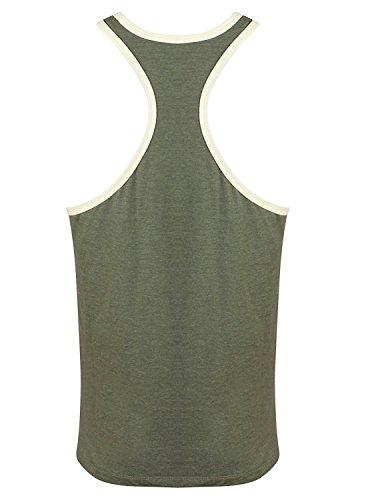Golds Gym Tank Top Muscle Joe Contrast Stringer Tank Army Cream
