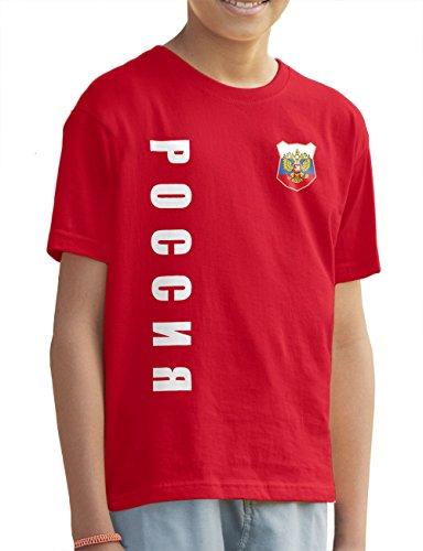 AkyTEX Russland Russia Kinder Trikot Fanshirt T-Shirt Shirt WM 2018 Name Nummer (Rot, 164)