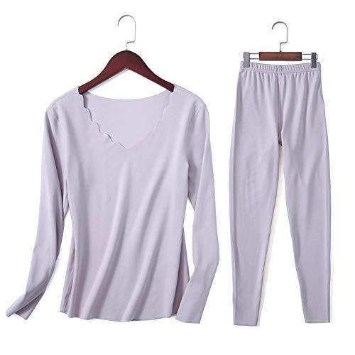 Jahreszeiten-Pyjamas Sets Frauen Fieberfaser Langarm Nahtlose Thermo-Unterwäsche Schlafplatz Pyjamas Frauen ()