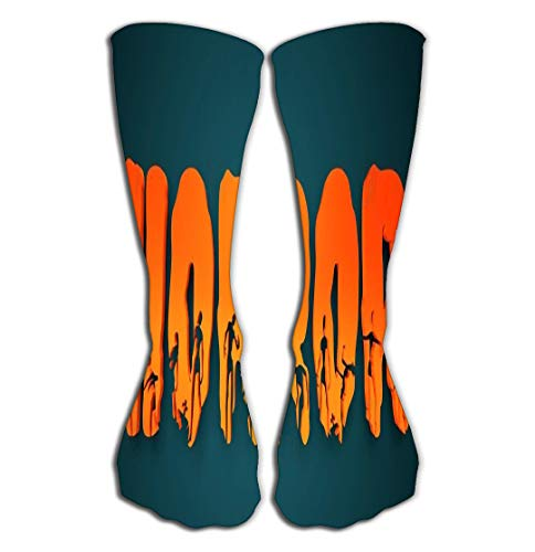 jinhua1 Hohe Socken Outdoor Sports Men Women High Socks Stocking Horror Word Silhouettes Them Halloween Theme Background d Rendering Fervent Tile Length 19.7
