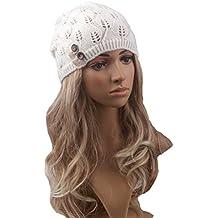 Pixnor las mujeres beanie gorro lana punto caliente de invierno ski  snowboard hojas salida hueco jpg 96d6692482f