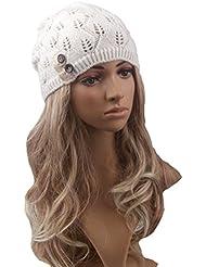 Pixnor Las mujeres Beanie gorro lana punto caliente de invierno SKI Snowboard hojas salida hueco de mujeres tejer sombrero blanco