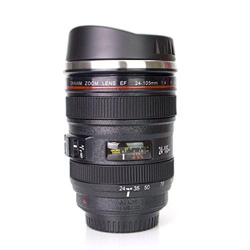 Kameraobjektiv Tasse Kaffeetassen , Edelstahleinsatz, 350ml Schwarz