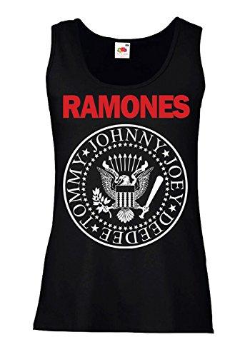 LaMAGLIERIA Camiseta de Tirantes Mujer Ramones - Bicolore - 100%...