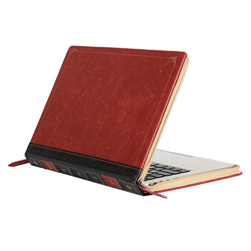 MOSISO Sleeve Reißverschluss für MacBook Pro 13 zoll mit Retina Display (A1502 / A1425, Version 2015/2014/2013 / Ende 2012), Hochwertige PU Leder Book Case Vintage Classic Hülle Tasche, Weinrot
