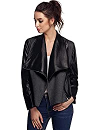 FINEJO Ladies Synthetic Leather Fitted Bikers Style Vintage Jacket Coat