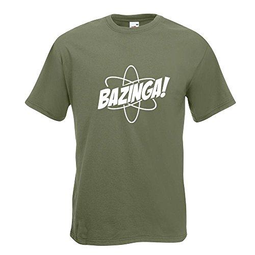 KIWISTAR - Bazinga - TBBT T-Shirt in 15 verschiedenen Farben - Herren Funshirt bedruckt Design Sprüche Spruch Motive Oberteil Baumwolle Print Größe S M L XL XXL Olive