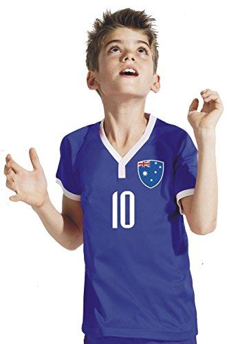Australien Kinder Trikot - Hose Stutzen inkl. Druck Wunschname + Nr. BBB WM 2018 (128)