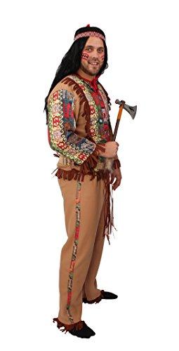 Indianer-Kostüm braun für Herren | Größe: 54-56 | 2-teiliges Western Outfit für Erwachsene | Apache Faschingskostüm für Männer | Häuptling Verkleidung für Karneval & (Kostüm Party Western Themen)