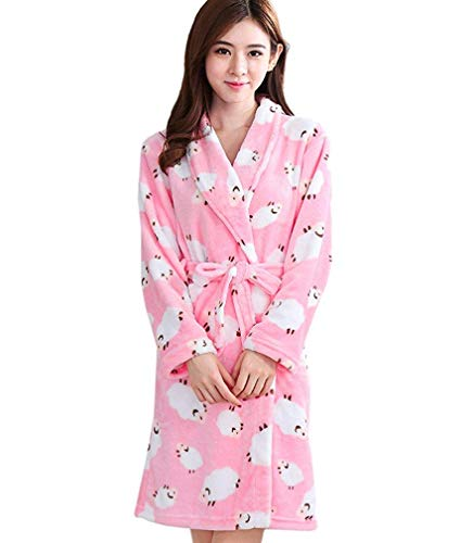 Huixin Weich Warm Coral Bademantel Dekoration Schaf Elegant Bademantel Spa Pyjamas Nacht Wärmen Morgenmantel (Color : Colour, Size : XL)