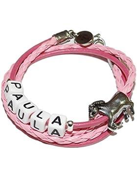 ARTemlos® Handgefertigtes Kinder-Armband mit Name aus Edelstahl und Leder (021y)