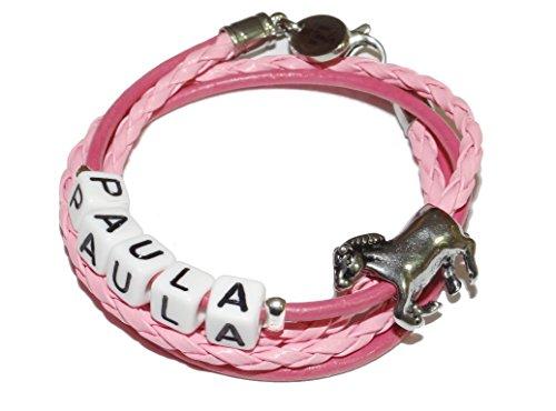 ARTemlos® Handmade Kinder-Armband mit Name aus Edelstahl und Leder (021y)