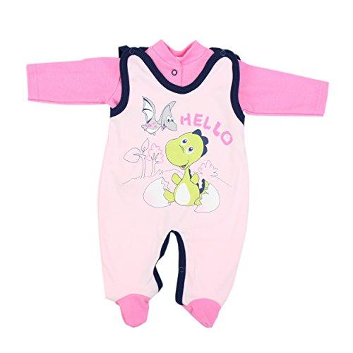 Baby Strampler mit Spruch I love Mum and Dad oder mit Aufdruck 2-tlg. Stramplerset mit Oberteil, Farbe: Dino Rosa, Größe: 74