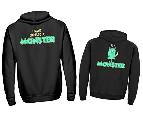 Vater Kind Partnerlook Pullover Set I Have Created A Monster & I´m A Monster Kapuzenpullover Papa Kind Hoodie (S & ()