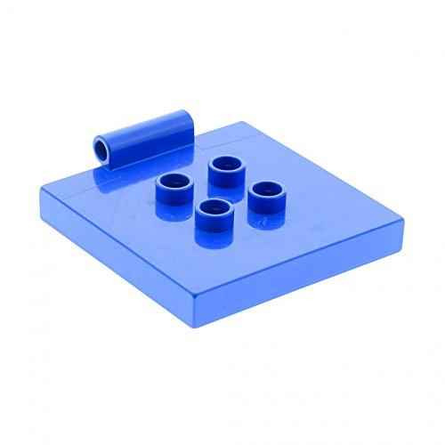 1 x Lego Duplo Fliesen Platte blau 4 x 4 mit 4 Noppen in der Mitte und Scharnier für Kipp Aufsatz Auto Truck Set 4976 2606 89465 31068 (Auto-scharniere)