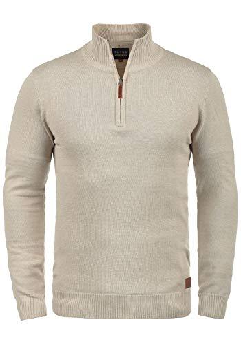 Blend Robin Herren Strickpullover Troyer Feinstrick Pullover Mit Stehkragen Und Reißverschluss, Größe:XL, Farbe:Sand Mix (70810)