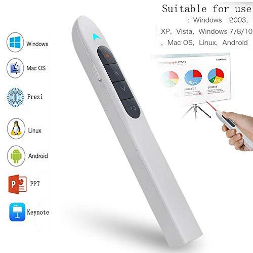 Womdee Laserpointer Präsentation, 2,4 GHz Powerpoint Fernbedienung Präsentation Clicker Laserpointer Grün Flip Pen USB-Präsentation mit Tastenkombinationen Unterstützung Hyperlink