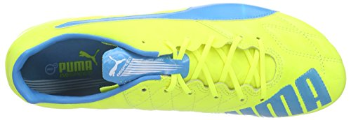 Puma Evospeed 1.4 Lth FG, Chaussures de Football Homme Multicolore (Safety Yellow/Atomic Blue/White)