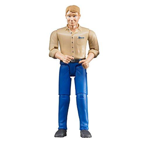 Bruder 60006 - Minifigur - bworld Mann mit hellem Hauttyp und blauer Hose (Bauarbeiter Figuren)